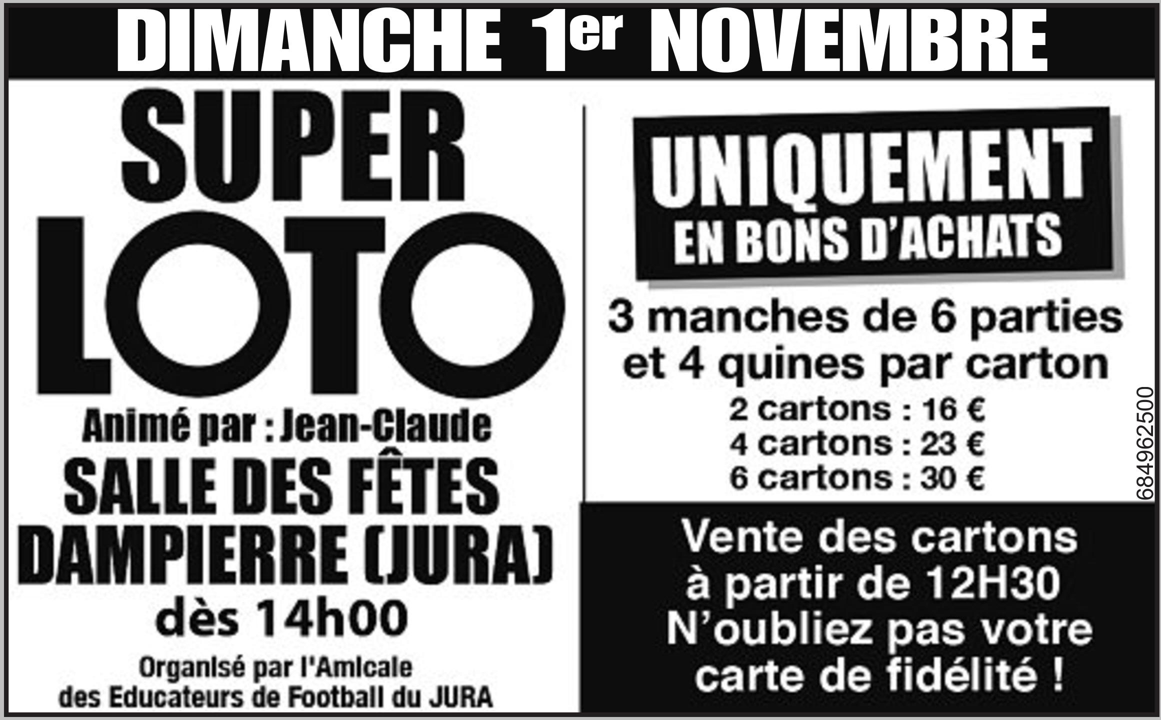 Super Loto de l'AEF Jura le 1er novembre à Dampierre